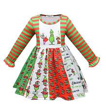 Vestido infantil verde Monster Grinch Vestido feminino manga longa YBK5912