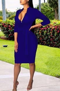 Sexy polyester lange mouw V-hals gesplitste mid-taille lange jurk SMR9964