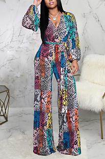 Multi sexy pop-art print lange mouw V-hals lantaarn mouw wijde pijpen jumpsuits SMR9934