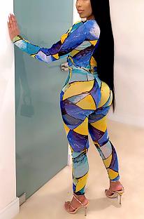 Conjuntos de calças compridas geométricas sexy de manga comprida em volta do pescoço com cintura média SMR9878