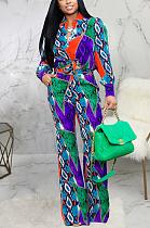 Sexy Polyester Pop Art Print Long Sleeve Lapel Neck Mid Waist Long Pants Sets SMR9935