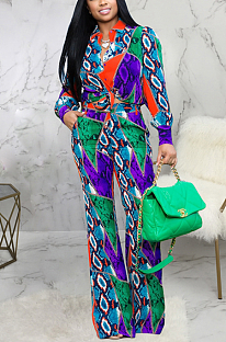 Conjuntos de calças compridas sexy de poliéster pop art de manga comprida lapela pescoço cintura média SMR9935