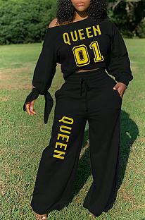 Simplee Letter T-shirt met lange mouwen, ronde hals, halfhoge taille, wijde pijpen broek sets H1579