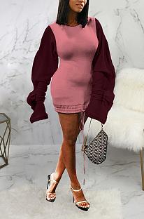 Sexy polyester midi-jurk met lange mouwen, ronde hals, ruches en halfhoge taille SMR9846