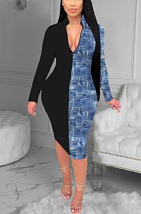 Sexy lange mouw diepe V-hals contrast bindende mid taille lange jurk H1578