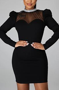 Mini vestido elegante de poliéster de manga longa em volta do pescoço e cintura média FFE068