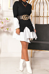 秋冬婦人服エレガンスファッションスプライス不規則長袖ラウンドネックドレスウエストバンド無料KA7154