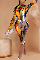 Casual Sexy Pop Art Print Long Sleeve Round Neck High Waist Long Dress FFE061