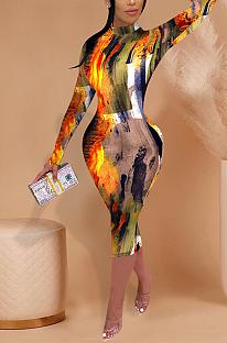 Casual sexy pop art estampa manga comprida em volta do pescoço cintura alta vestido longo FFE061