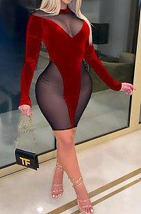 Vestido com costura de manga comprida sexy fashion outono inverno SH7238