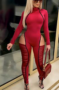 Macacão sexy de manga comprida em volta do pescoço emendado com babado bodycon FFE053
