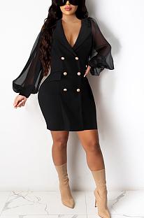 Sexy midi-jurk met lange mouwen, diepe V-hals en knopen FM6094