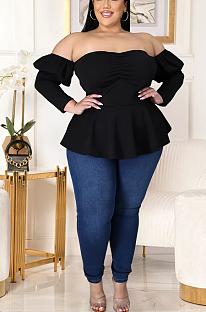 Симпатичные Simplee рубашки с длинными рукавами и открытыми плечами с вырезом и воланами GL7009