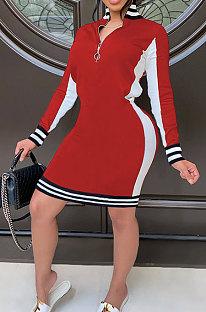 Moda esporte casual outono inverno vestido emendado SH7239