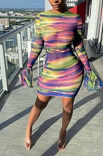 Robe mi-longue sexy en maille tie-dye évasée à manches longues col rond taille moyenne LYY9282