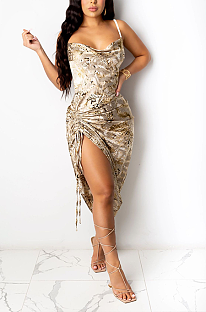 Vestido comprido sexy camuflagem halterneck com ombro frio plissado cintura média vestido longo L0334