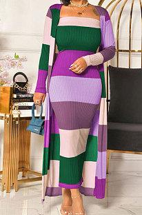 Vestido combinando cores com estampagem de costela sexy adicionar casaco comprido QY5033