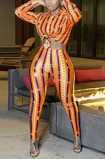 Conjuntos de camisas para calças casuais de poliéster com estampa de manga longa lapela pescoço longo MA6649