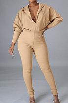 Lady Temperament Hooded Zipper Long Sleeve Mid Waist Jumpsuit OMY8105