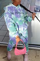 Casual Tie Dye Letter Long Sleeve Waist Tie Hoodie Long Pants Sets T3576