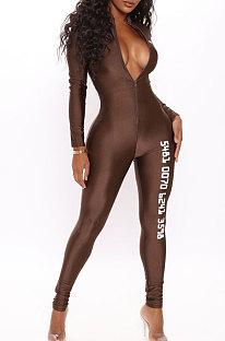 Offset Printing Spliced Sexy Casual Long Sleeve Zipper Mid Waist Jumpsuits JP1001