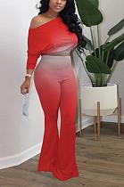 Sexy Long Sleeve Round Neck Oblique Shoulder Gradients Flare Leg Pants Sets M1132