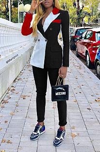 Elegant Polyester Long Sleeve Lapel Neck Buttoned Spliced Long Pants KSN8067