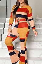 Street Style Striped Long Sleeve Round Neck Drawstring Waist Tee Top Long Pants Flare Leg Pants Sets D68319
