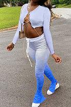 Womenswear Gradient Carry Buttock Metal Chain Bind Ruffle Microhorn Long Sleeve Sets JP1002