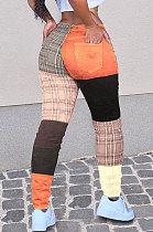 Calças casuais com impressão de cores correspondentes calças compridas xadrez WT9069