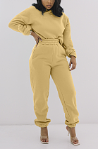 Casual Polyester Long Sleeve Spliced Slant Pocket Hoodie Long Pants Sets LML192