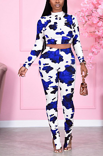 Casual Polyester Fashion Printing Long Sleeve Round Neck Crop Top Long Pants Sets JH210