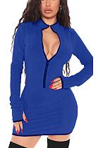Mini-robe décontractée à manches longues en acétate à col en V et à glissière épissée X9285