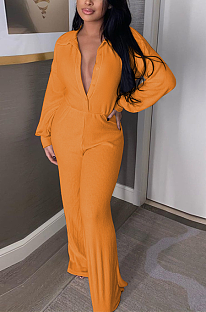 Casual Polyester Long Sleeve V Neck Pit Strip Wide Leg Jumpsuits NYF8036