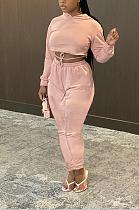 Sexy Long Sleeve Halterneck Self Belted Hoodie Tee Top Mid Waist Long Pants Sets WXY5533