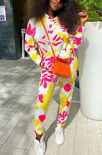 Casual Sporty Polyester Tie Dye Long Sleeve Hoodie Long Pants Sets OH8013