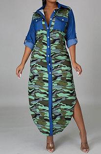 Осень-зима Костюм с длинным рукавом и воротником Длинное стильное платье в стиле рубашки YF8845