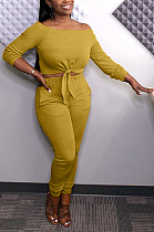 Sexy Long Sleeve Off Shoulder Self Belted Tee Top Mid Waist Long Pants Sets JC7001