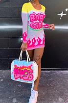 Sexy Tie Dye Letter Pop Art Print Long Sleeve U Neck Mid Waist Mini Dress YFS3645