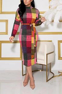 Σέξυ καρό μακρύ μανίκι στρογγυλή λαιμόκοψη μεσαία μέση μακρύ φόρεμα MMS8031