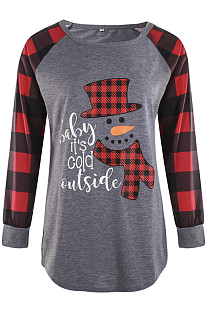Round Collar Plaid Christmas Top T-Shirt