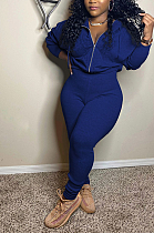 Casual Polyester Long Sleeve V Neck Ruffle Zipper Bodycon Jumpsuit RZ1050