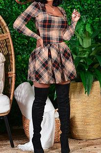 Μακρυμάνικο εκτύπωση Φερμουάρ V Λαιμόκοψη μεσαία μέση Ruffle φόρεμα CY13050