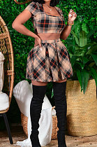 Womenswear Plaid Midriff Ruffle Skirts Sets CY1292