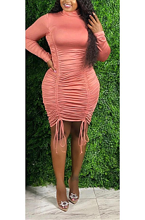 Casual Sexy Long Sleeve Round Neck Self Belted Ruched Detail Mid Waist Long Dress Q6040