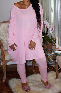 Fashion Casual Pure Colour Loose Σετ Two-Piece W8354