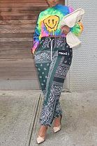Повседневные брюки в уличном стиле из полиэстера с принтом в стиле поп-арт, длинные брюки со средней талией, PU6032