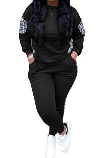Fashion Long Sleeve Round Neck Sport Loose Casual Two-Piece CYF3807