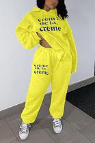 Casual Polyester Letter Long Sleeve Slant Pocket Waist Tie Hoodie Mid Waist Long Pants Sets KY3045