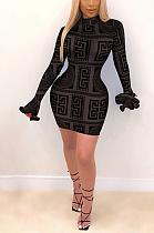 Повседневное мини-платье с короткими рукавами и круглым вырезом со средней талией и длинными рукавами YY5252